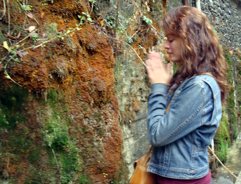 May Lindstrom smelling moss