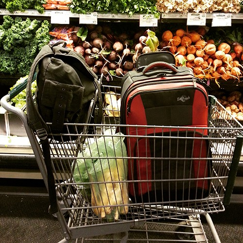 Suitcases in Whole Foods