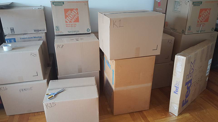 moving and packing boxes